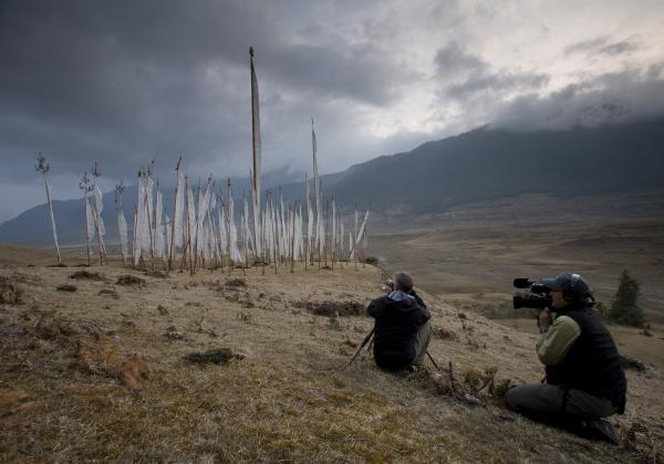 Prayer flags in Bhutan, with Art Wolfe